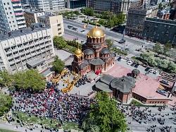 Впервые Крестный ход в Новосибирске снимали с высоты птичьего полета